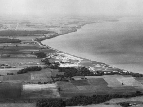 An early aerial photo shows Camp Haven in the Town of Mosel where Whistling Straits now is located.
