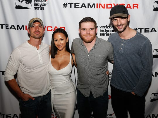 """The Amazing Race"" competitors (from left) Cody Nickson, Jessica Graf, Conor Daly and Alexander Rossi pose at a Feb. 7 viewing party for the reality show in Phoenix."