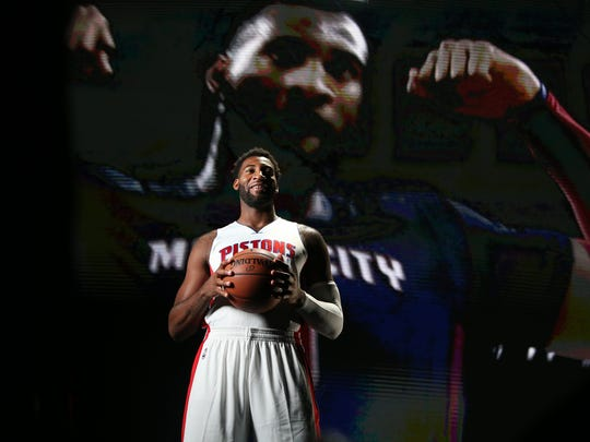 Detroit Pistons Andre Drummond poses for a video during
