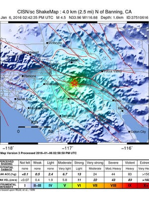 Location of M4.5 near Banning, California Wednesday morning.