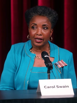 Carol Swain speaks during a mayoral candidate forum hosted by The Tennessean and WSMV at the Nashville Public Library Downtown branch Wednesday May 2, 2018.