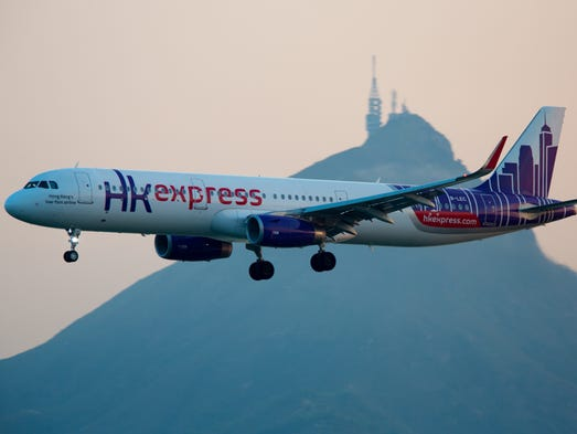 An HK Express Airbus A321 lands in Hong Kong in August