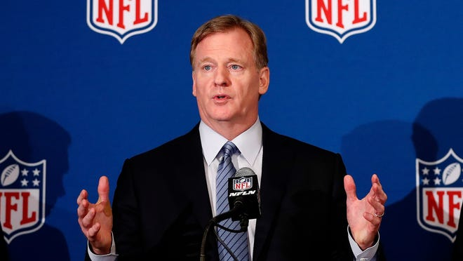 NFL commissioner Roger Goodell discusses the rule changes May 23 for the national anthem at a press conference in Atlanta.
