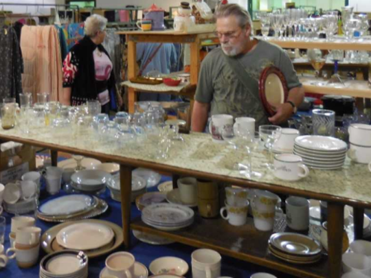 Glassware for all occasions is part of the Martin Luther Guild rummage sales.
