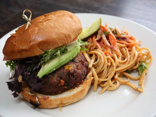 The Black bean burger with peanut noodles at Lola's