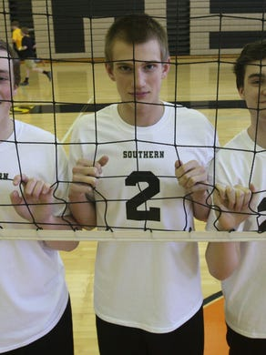 Southern boys volleyball. l-r Mike Sprague, Jake Logue and Liam Maxwell --March 30, 2015-Stafford, NJ.