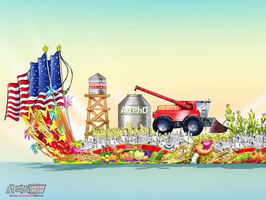 The concept art for Ag PhD's Rose Parade float, featuring