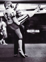 Green Bay Packers punter Don Bracken practices in the team's indoor practice facility in an undated photo.