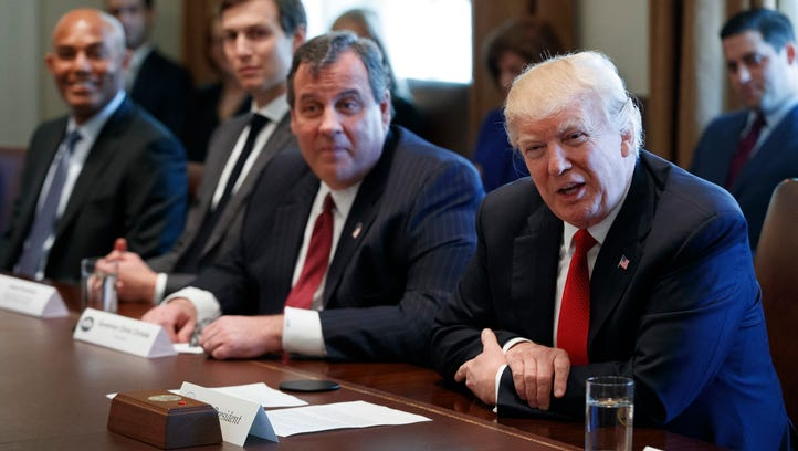President Donald Trump, with Gov. Chris Christie beside him, launched a commission on opioid and drug abuse with a listening session in Washington on Wednesday.