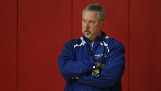 Razorsharks head coach Robert Spon, during practice, gets ready for the start of the season.
