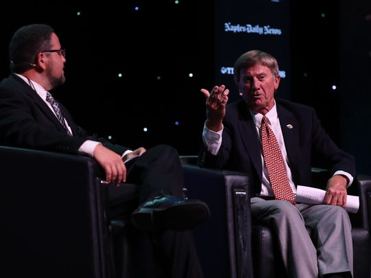 Legendary Florida football coach Steve Spurrier talks with Lee and Collier athletes at the Southwest Florida Sports Awards powered by The News-Press and Naples Daily News.  Ed Reed moderated the interview with Coach Spurrier.