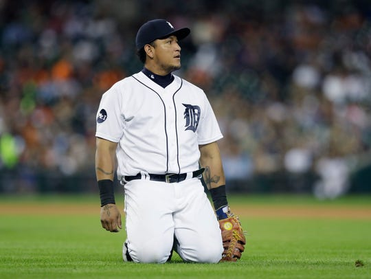 Miguel Cabrera reacts after misplaying a grounder hit