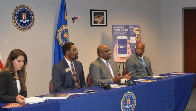 Left to right: FBI El Paso Special AgentMarthaTerrazas, UTEP Career Services Associate Director Craig Thompson, FBI El Paso Special Agent in Charge Emmerson Buie Jr. and FBI El Paso Assistant Special Agent in Charge Jermicha Fomby hold a news conference Friday to discuss the agency's Diversity Agent Recruitment event.
