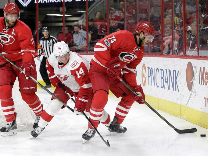 Detroit Red Wings' Gustav Nyquist (14), of Sweden,