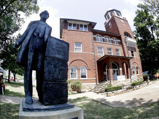 The statue of orator William Jennings Bryan stands