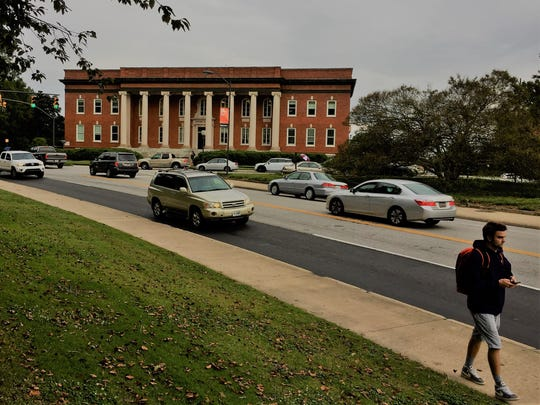 Clemson University's Sikes Hall, home of the president's office, faces State 93 at the northern border of campus. The school's College of Business will break ground across the highway on Friday, Oct. 27, 2017, marking a shift northward of the university's academic facilities.