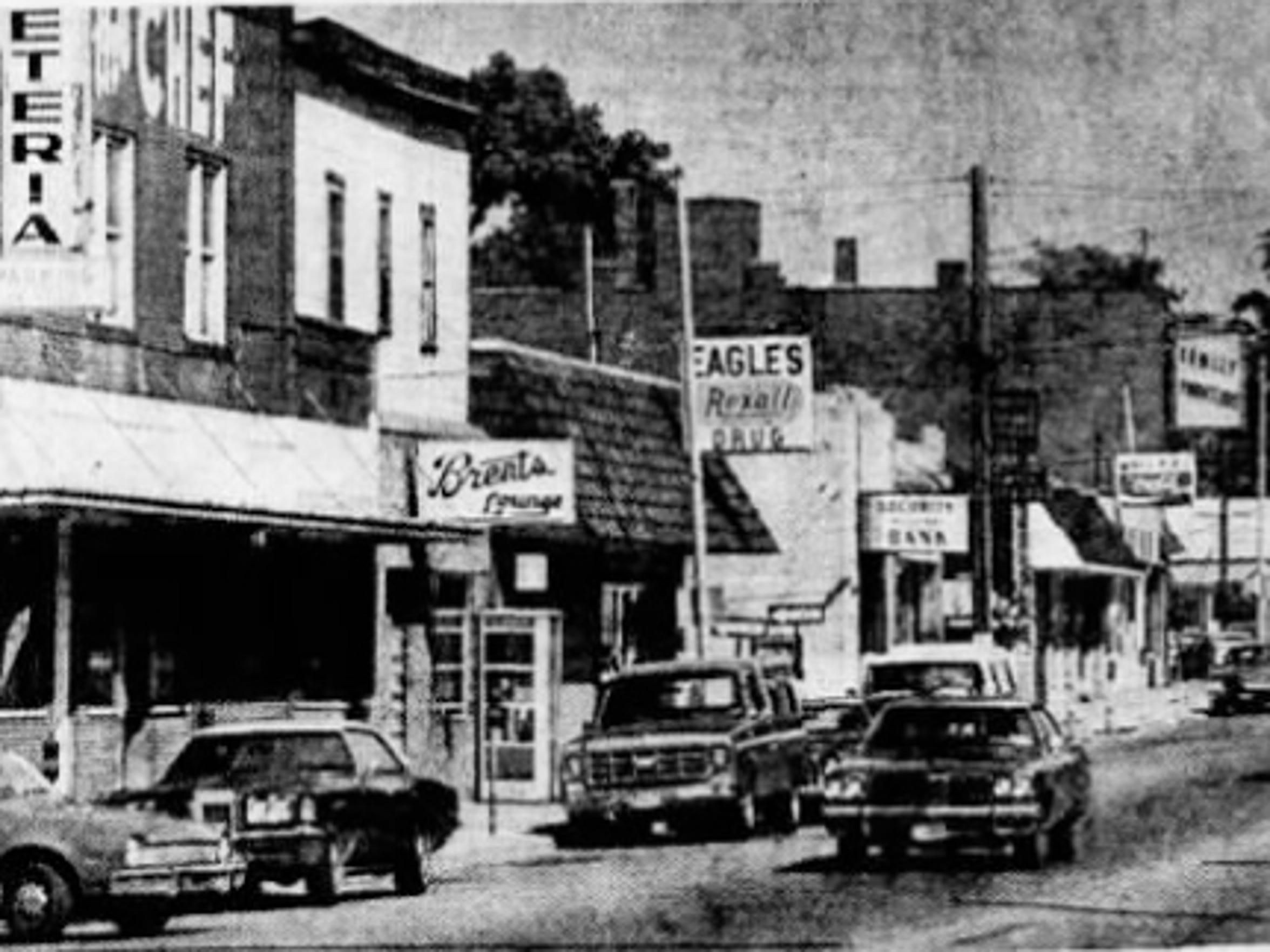 Postumville's business district in 1978.