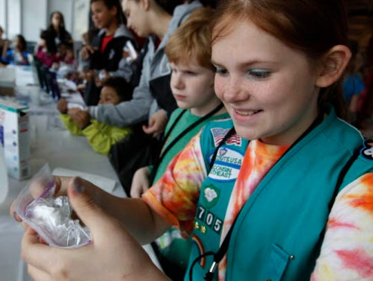 Kenna Noe, with girl scout troop 2705 in Waukesha,