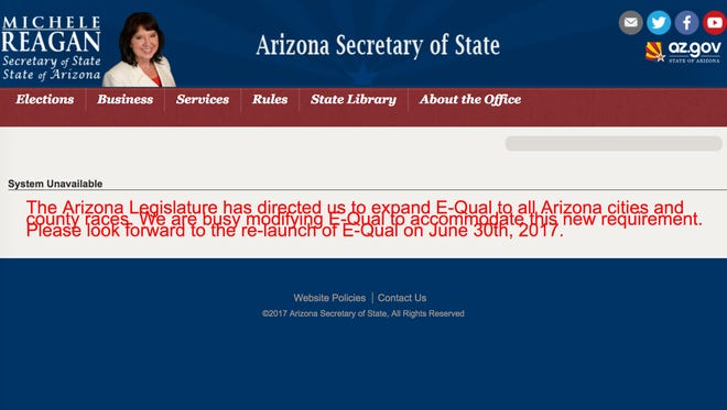 An online system for collecting signatures for candidates to get on the ballot has been delayed.