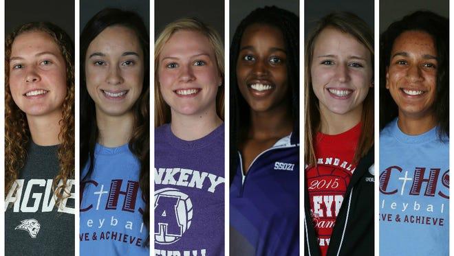 The 2015 all-CIML Volleyball team:  Tasha Vipond, Centennial; Tessa Mendoza, Dowling Catholic; Alyssa Ballenger, Ankeny; Denise Ssozi, Johnston; Sami Hillmer, Urbandale; Mykal Sadler, Dowling Catholic.