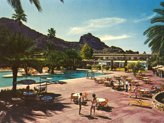 This vintage photo shows the pool scene at the former