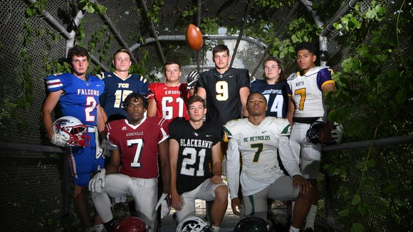Competitors from the WMAC conference are ready for the season to begin. Photographed, from left, (back row) West Henderson's Jacob Burnette, Roberson's Ty Gossett, Erwin's Jackson Gouge, Tuscola's Brayden Monday, Enka's Logan Fender, North Henderson's Alberto Martinez, (front row) Asheville High's Trevon Robinson, North Buncombe's Caden Higgins, and Reynolds' I'dre Bell.