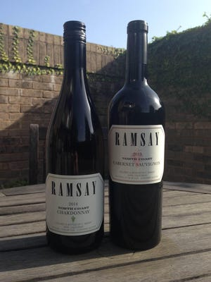 Chardonnay, left, and Pinot Noir from the Ramsay Collection of Kent Rasmussen Winery.