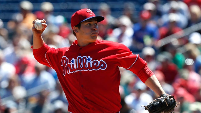 Phillies starting pitcher Jerad Eickhoff pitches Tuesday against the Twins at Bright House Field.