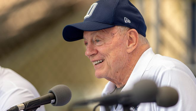 "Dallas Cowboys owner Jerry Jones takes questions from the press during the ""state of the team"" press conference at the start of Dallas Cowboys' NFL training camp, Wednesday."