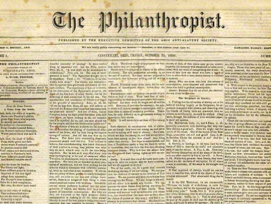 The Philanthropist, an abolition newspapers published