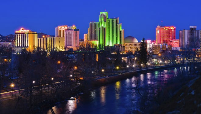 Downtown Reno and the Truckee river at night.