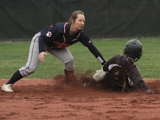 Galion's Nevaeh Clark tags out Clear Fork's Zara Thomas at second base during an away game on Wednesday.