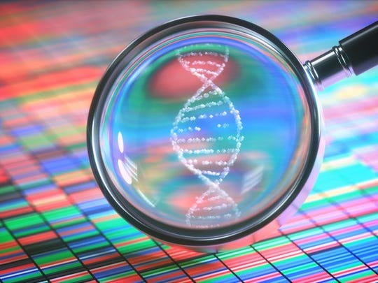 Magnifying glass showing DNA helix
