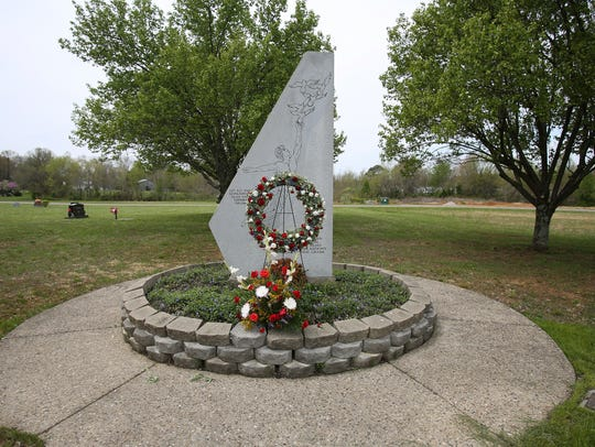 A memorial to the victims of the Carrollton bus crash