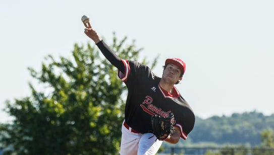 Pewaukee senior Patrick Tomfohrde delivers a pitch