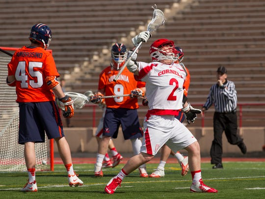 Cornell's Colton Rupp celebrates scoring during the second quarter Saturday afternoon during Cornell's 14-10 win over Virginia.