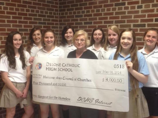 Front row, from left: Jordan Arigo, Carol Hinkle, operating manager of the Hanover Area Council of Churches, and Mindy Baker; back row, Katie Farrington, Brenna Murphy, Sarah Murphy, Ariel Burke Walter, Aleigha Fuhrman and Diana Biesecker.