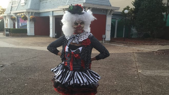 Jax disguised herself as a zombie clown and scared the masses at Six Flags Great Adventure Fright Fest Friday evening.