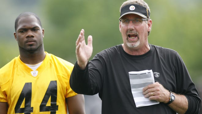 Steelers linebackers coach Keith Butler instructs as linebacker Brandon Hicks listens in June of 2012.