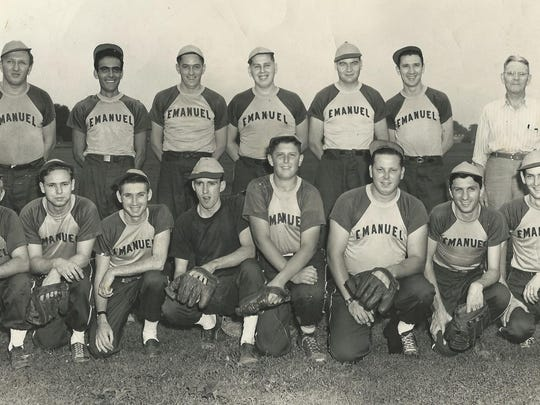 """1950 softball team from Emmanuel Lutheran Church. From left (front): Gene Buttram, Leonard Gibson, andy Stricher, Harold Freeman, Burr Cardwell, Clarence Roeder, Richard Roeder and """"Big"""" Bob Roeder Second row:  Clarence Halwes, John Eggers, Paul Cornils, Fred Roeder, John Sander, Glen Brierweiseer and team manager, Fred Nurghing. Image contributed"""