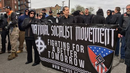 White nationalist protesters prepare to march in Shelbyville, Tenn., Oct. 28, 2017.