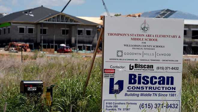 An elementary and middle school being built on Clayton Arnold Road on Wednesday, Aug. 23, 2017, in Thompson's Station, Tenn. The schools, which have not been named yet, are expected to open in Fall 2018 to  keep up with growth in Williamson County.