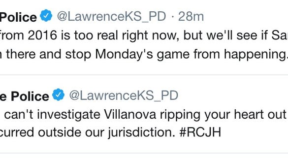 Lawrence Police was hilariously tweeting Kansas fans through their Final Four sadness