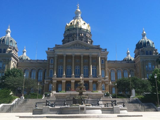 The west side of the Iowa Capitol in Des Moines.
