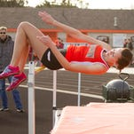 After clearing the bar with this vault at eight feet, Brighton's Kirsten McGahan tied her personal best with a following vault at the home track and field meet against Milford.
