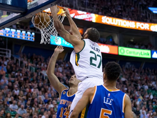 March 22: Utah Jazz center Rudy Gobert (27) dunks the