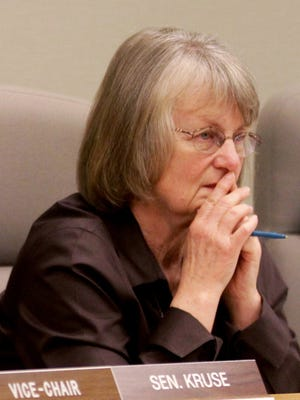 In this photo taken Feb. 18, 2015, state Sen. Laurie Monnes Anderson listens during a public hearing at the Capitol in Salem, Ore.