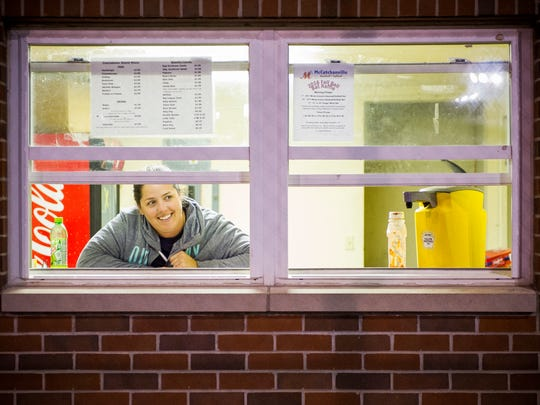 Laura Okes, of Evansville, volunteers in the concession stand on the Mickey Martin baseball field at McCutchanville Community Park in Evansville,  Thursday, Oct. 13, 2016. The Mickey Martin baseball field could be in jeopardy as the Evansville Vanderburgh School Corp. finalizes plans for a new North Side elementary school.