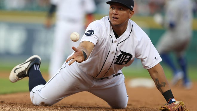 Detroit Tigers Miguel Cabrera fields a ground ball during fourth inning action against the Kansas City Royals Tuesday, June 27, 2017  at Comerica Park in Detroit, MI.