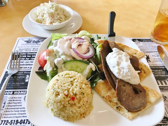 Vista Grille's gyro platter comes with a side of rice
